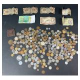 Lot of International Coins and Currency
