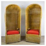 Pair Vintage Wicker Porters Chair