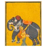 Indian Miniature Painting Woman with Elephant