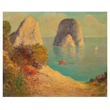 Signed Iacono Oil on Canvas Seaside Landscape