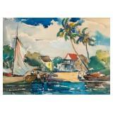 Chester J Tingler Watercolor on Board Landscape