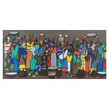 Francois Iloki Marketplace Gouache on Canvas