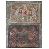 Grouping of 2 Indian Silk Tapestry Quilts
