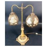 1920s Slag Glass Table Lamp