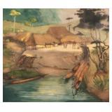 19th Century Congolese Village Scene Aquatint