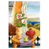 Painting, Still life on table with landscape