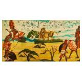 Maasai Warriors Ink on Raw Canvas