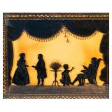 Reverse Painted Family Silhouette on Glass