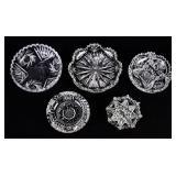 5 Cut Glass Dishes
