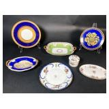 Grouping of Cobalt Blue and Floral Porcelain