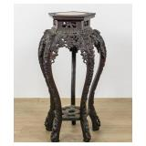 Carved Chinese Hardwood and Marble Top Stand