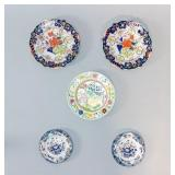 Grouping of 5 Floral Porcelain Enamelwares