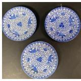 3 Blue and White Phoenix Enamel Plates