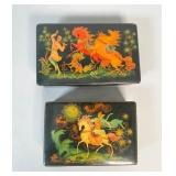 2 Painted Palekh Boxes