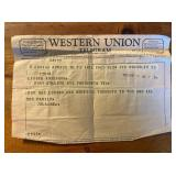 Telegram Elaine sent to mom after Kennedy was shot