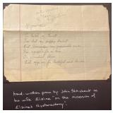 Handwritten poem by John for Elaines Hysterectomy