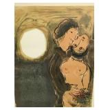 Marc Chagall Lithograph Couple in Ocher