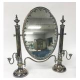 Silverplate Mirror With Candle Holders