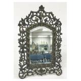 Victorian Beveled Glass White Metal Mirror