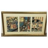 Utagawa Kunisada Triptych Woodblock Print
