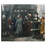 Signed Molnar Oil on Canvas Cafe Scene