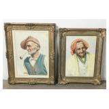 Pair of Signed E Fiorentino Watercolor Portraits