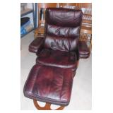 LEATHER RECLINER & OTTOMAN