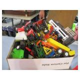 BOX FULL OF MISC TRACTOR TOYS NEEDS WORK