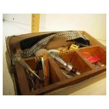 WOODEN BOX MISC ITEMS