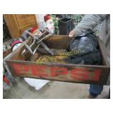 PEPSI WOODEN CRATE WITH MISC ITEMS