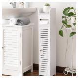 Thin Toilet Vanity Cabinet White