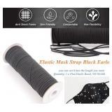 "Black elastic band, 3/8"", 100 feet continuous"