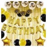 13 piece Happy Birthday Ballon Kit Gold/Black
