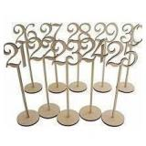 Natural Wood Table Number Decor With Stands