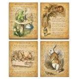 Alice In Wonderland Patent Wall Art Prints - Set 4