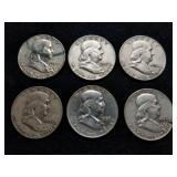 1952-57 Franklin Half Dollars 6pcs