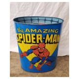 "1979 Spider Man Metal Trash Can 13"" High"
