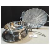 Lenox Serving Platter&Stainless Punch Bowl w/Tray