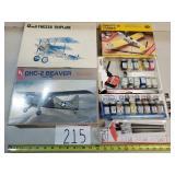 3 Model Airplane Kits w/ Paint