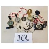 6 Assorted Compasses