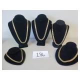 Lot of 5 18K Gold Plated Hip Hop Necklaces