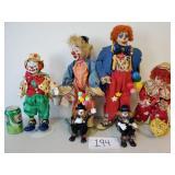 6 Various Porcelain Clown Dolls (No Shipping)