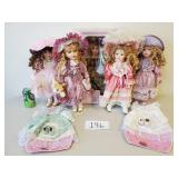 5 Various Porcelain Dolls (No Shipping)