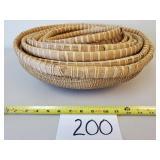 8 Nesting Round Wicker Baskets