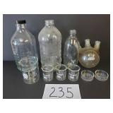 Various Glass Bottles & Measuring Glasses -No Ship
