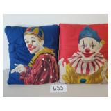 2 Vintage Clown Pillows