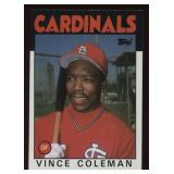 1986 Topps Baseball Card #370 Vince Coleman
