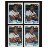 Four Cards 1990 Fleer #586 Dave Justice Rookie