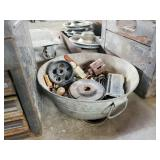 Metal Wash tub of assorted parts and tools