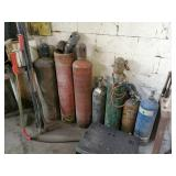 7 Assorted Tanks with hose and torch